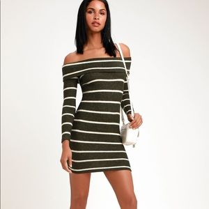 💛 Lulu's Striped Off-The-Shoulder Sweater Dress